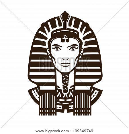 Portrait of pharaoh. Africa, Egypt, egyptian symbol Vintage vector illustration