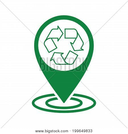 Recycle Icon Green Pin Transparent Line
