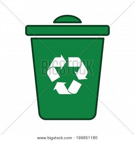 Recycle Icon Green Trash Bin