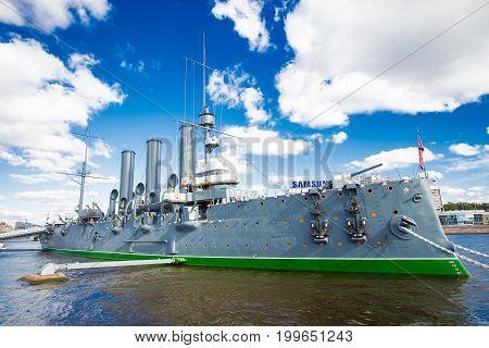 cruiser Aurora on the Neva River in St. Petersburg24.09.2016 Russia