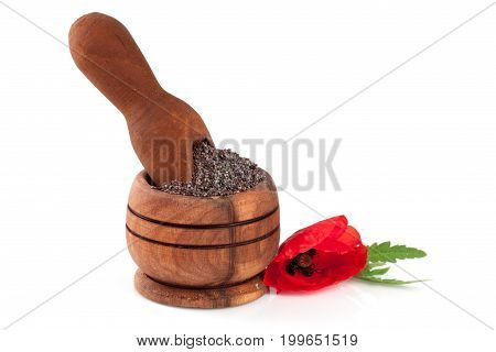 Poppy seeds in a wooden bowl and scoop with a flower.