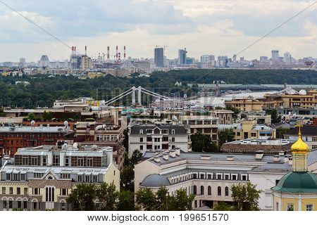 Moscow, Russia - July 25.2017. City landscape of the center and Crimean bridge