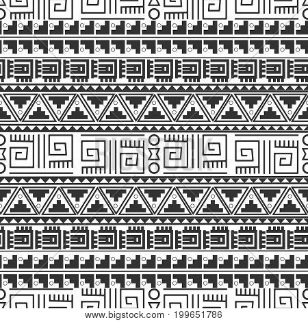 Seamless ethnic pattern tribal-vector illustration. The art of the Aztec, Mexican and Peruvian print.