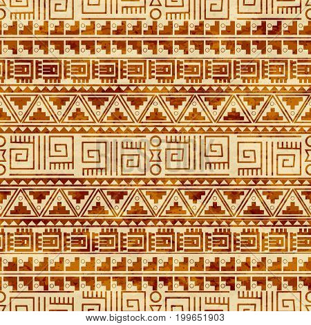 Seamless ethnic pattern tribal-vector illustration. The art of the Aztec, Mexican and Peruvian print. Grunge background