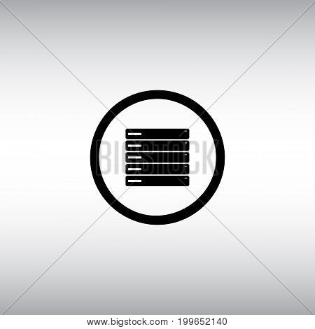 Server flat vector icon. Isolated server vector sign. Data center vector image. Backup round button.
