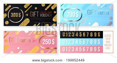 Premium gift voucher template with golden and silver glitter modern pattern. Black pink and blue holiday cards. Concept for gift coupon banner flyer invitation certificate or ticket.