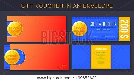Creative design of gift voucher with envelope. Concept for gift coupon banner flyer invitation ticket.
