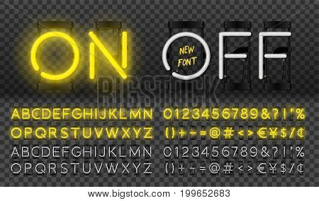Big yellow neon set glowing alphabet vector Font. Glowing text effect. On and Off lamp. Neon Numbers and punctuation marks. isolated on transparent background.