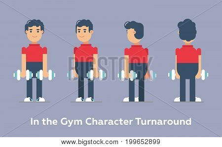Cool vector gym sporty characters. Character turnaround. Gym man work out. The character standing and smiling with different sporty poses.