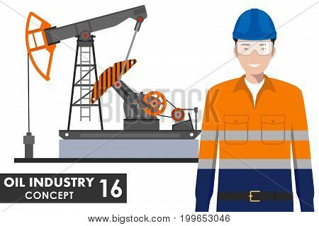 Detailed illustration of oil pump and workman in flat style on white background.