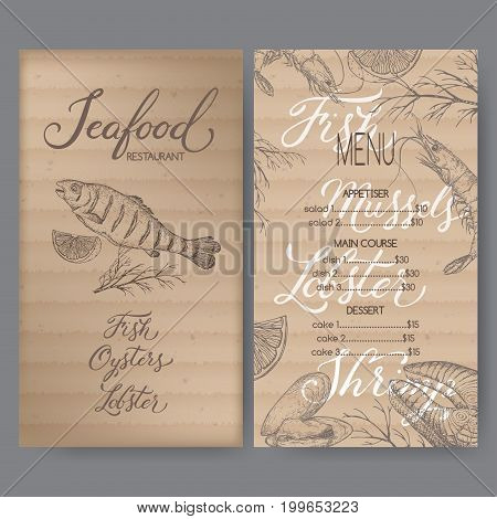 Vintage seafood restaurant menu template with hand drawn sketch of grilled fish, fish steak, shrimp, mytilus and related brush calligraphy. Placed on cardboard background