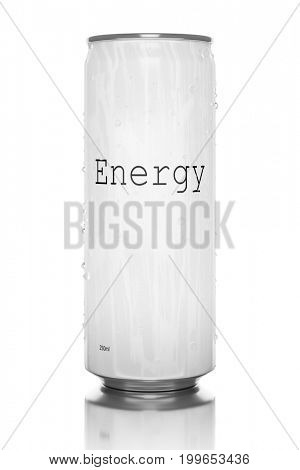3d rendering of a white energy drink