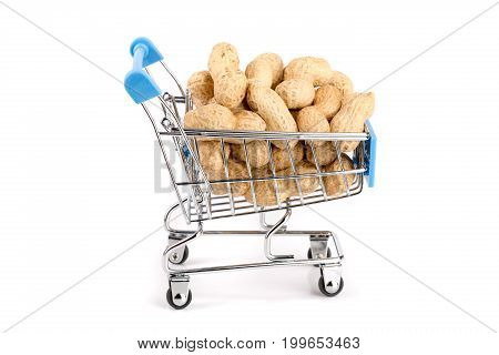 peanut in a shopping cart isolated on white background.