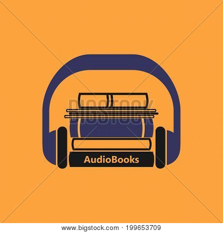 Audiobooks logo. Stylized vector emblem of books with headphone on a orange background.