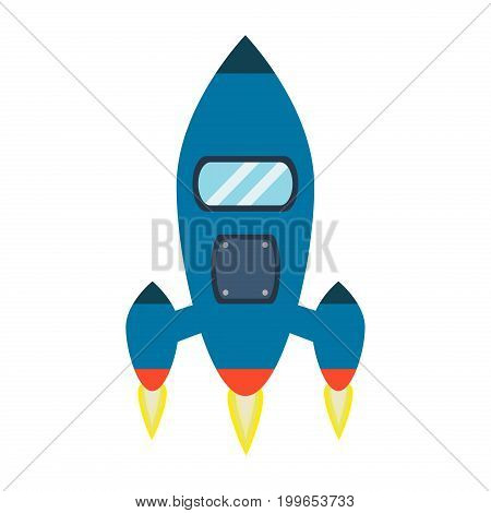 Rocket vector and space technology ship rocket launch cartoon design vector illustration. Cartoon spacecraft rocket future shuttle fly futuristic galaxy vehicle. Fantasy speed cosmos start up.