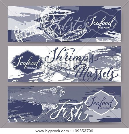Three banners with fish, seafood sketches and brush calligraphy. Great for markets, grocery stores, organic shops, food label design.