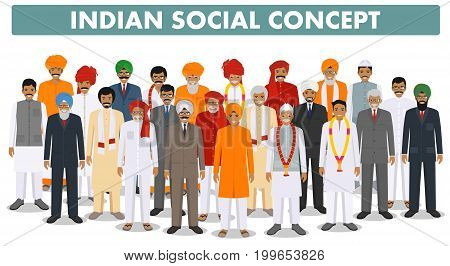 Indian man standing together in different traditional clothes on white background in flat style. Different dress styles. Flat design people characters. Family and social concept.