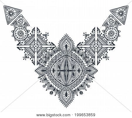 Tribal art boho hand drawn geometric pattern. Ethnic vector print in black and white. Fabric, cloth design, t-shirts.