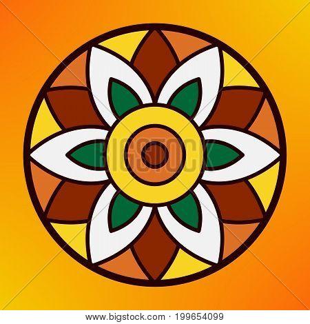 Traditional indian ornament rangoli for Onam or Diwali festival greeting card.