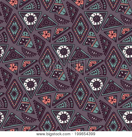 Colorful ethnic tribal seamless pattern with hand drawn elements. Vector aztec geometric print with triangles. Hipster endless background.