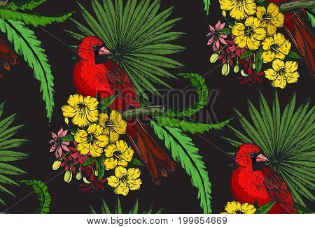Vector seamless pattern with compositions of hand drawn tropical flowers, palm leaves, jungle plants, paradise bouquet with exotic birds. Beautiful colorful floral endless background
