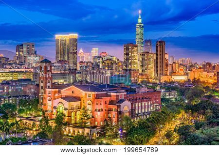 Taipei, Taiwan Skyline at twilight.
