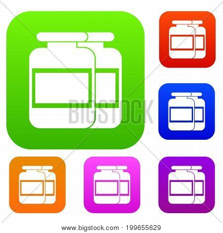 Nutritional supplement for athletes set icon in different colors isolated vector illustration. Premium collection