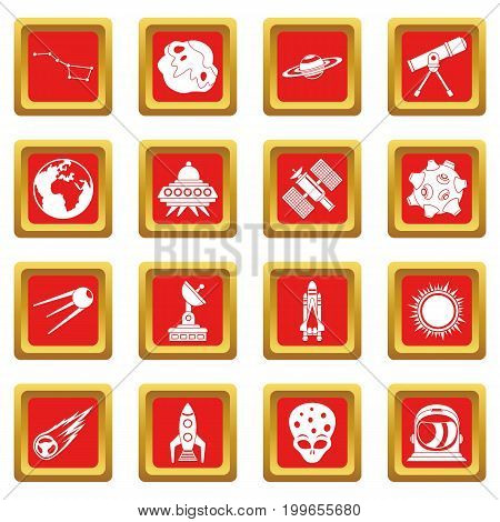 Space icons set in red color isolated vector illustration for web and any design