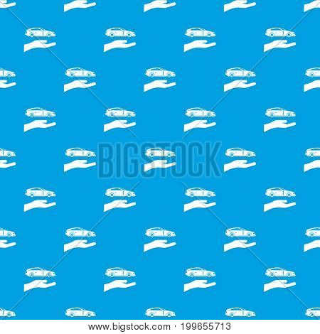 Hand and car pattern repeat seamless in blue color for any design. Vector geometric illustration