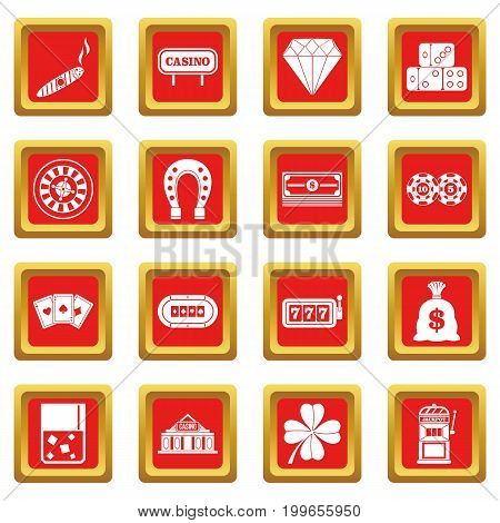 Casino icons set in red color isolated vector illustration for web and any design