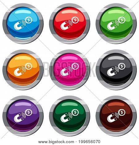 Magnet with coin set icon isolated on white. 9 icon collection vector illustration