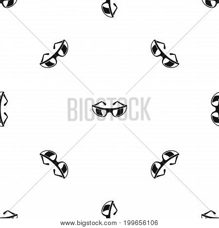 Sunglasses pattern repeat seamless in black color for any design. Vector geometric illustration