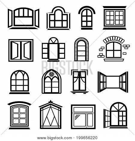 Window design icons set. Simple illustration of 16 window design vector icons for web