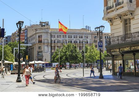 ZARAGOZA, SPAIN - MAY 26, 2017: The Plaza of Spain is the administrative center of the city in the center of which the flag of Spain is established.