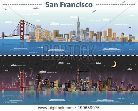 vector illustration of San Francisco at day and night