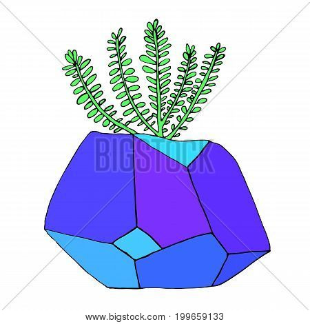 Succulent in a pot in the form of a crystal. Bright, juicy flower in a pot, isolated on white background. Exotic, vector detail, hand drawn illustration.Colored page for adults and children.