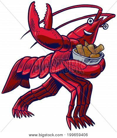 Vector cartoon clip art illustration of a crayfish crawfish crawdad or lobster in the Heisman Trophy pose holding a bowl of corn and potatoes