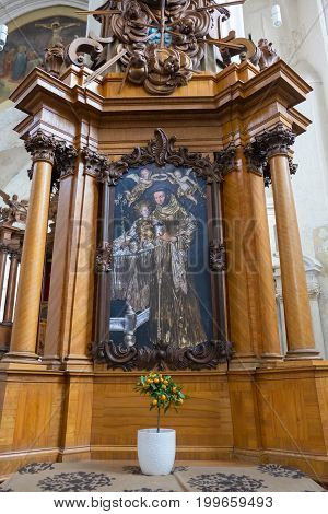 Vilnius, Lithuania - May 08, 2017: Interior Inside Of Church Of St Francis And St Bernard, Vilnius,
