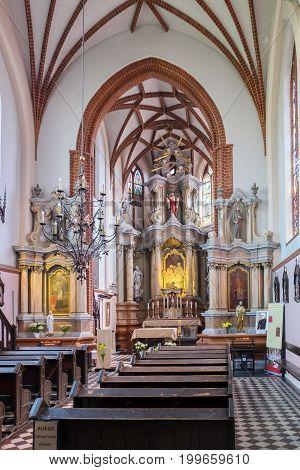 Vilnius, Lithuania - May 14, 2017: Interior Inside St. Anne Church. Vilnius, Lithuania.