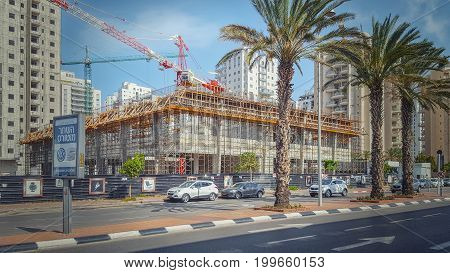 Side View Of Construction Commercial Complex In Holon