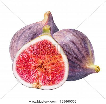 Ripe Figs Cut Piece Collection Isolated On White Background
