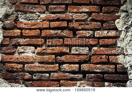 Old Brick Wall, Old Texture Of Red Stone Blocks Closeup