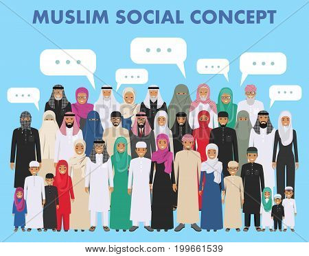 Arab men and women standing together in different traditional islamic clothes on white background in flat style. Different dress styles. Flat design people characters. Social concept. Family concept.
