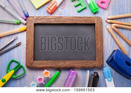 set of stationery frame on wood table