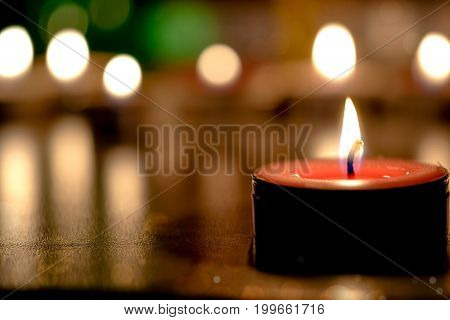 Retro Candle Light With Soft Light Background In The Church - Prayer And Hope Concep
