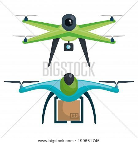modern delivery of the package by flying drone vector illustration