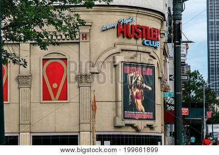 New York August 10 2017: Larry Flint's Hustler club on the West side of Manhattan is a famous gentlemen's adult entertainment establishment.