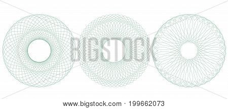Circular guilloche pattern rosette for certificate diploma voucher ticket etc. Vector illustration. Abstract round frame from thin lines.