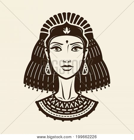 Portrait of beautiful young woman, girl in ethnic outfit. Princess, female warrior logo