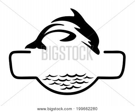 A sea logo with fish in jump.